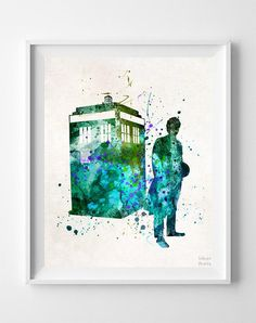 Tardis Print, Wall Art, Watercolor Art, Dr Who, Doctor Who, Painting, Poster, Illustration, Watercolour, Home Decor, from Inkist Prints.