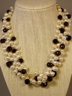 Double Strand of White Oblong Pearls and Smoky Topaz on Etsy, $425.00