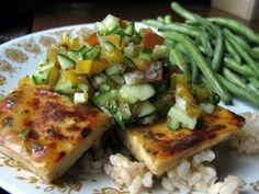 agave lime tofu with jalapeno-peach salsa... vegan