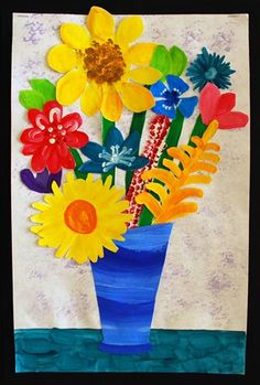 Van Gogh style - Collage of previously painted flowers in vase