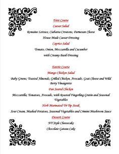 Wine Dinner Menu  Bellatrix Restaurant  Classic Club Golf Course