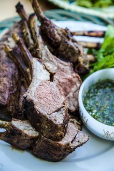 With temperatures rising, the grill is a perfect way to cook the rack of American lamb you picked up from the store. Grill Rack, Rack Of Lamb, Mint Recipes, Weekday Meals, Chimichurri, Grilled Vegetables, Fresh Mint, A Food, Food Processor Recipes