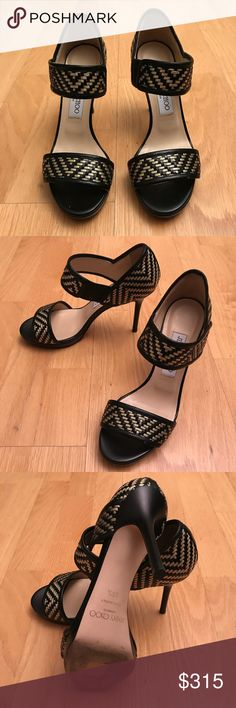 """Jimmy Choo woven metallic thread heels Jimmy Choo metallic woven kid leather sandal. 4"""" heel with 0.5"""" platform; 3.5"""" equiv. Strap over instep with stretch inset. Piped leather trim. Leather lining and sole. """"Alana"""" is made in Italy. Size 6.5 Jimmy Choo Shoes Sandals"""