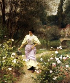 Victor-Gabriel Gilbert (French Academic Painter, 1847-1933) Gardening  Lady in a Garden