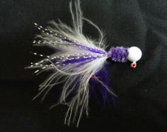 White + Purple Crappie Jig with White + Purple Marabou and Sparkle Flash - FREE SHIPPING - Edit Listing - Etsy