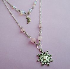 layered sun and moon necklace beaded necklace by OfStarsAndWine