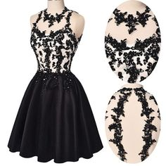 A Line Prom Dress,Short Black Prom Gown,Beaded Homecoming