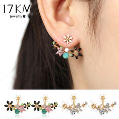 17KM Cute Fashion Gold Color Crystal Stud Earrings  Bijoux Women Earrings Flower Women Accessories  Piercing Love Jewelry