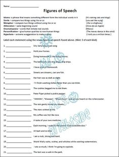 Simile Metaphor Personification Worksheet Luxury Figurative Language 21 Questions Students Must Identify English Grammar Worksheets, Language Arts Worksheets, Vocabulary Worksheets, School Worksheets, Language Lessons, Worksheets For Kids, Printable Worksheets, Free Printables, Place Value Worksheets