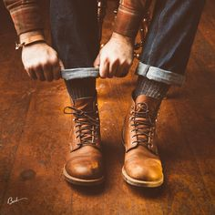 Red Wing Heritage Iron Rangers and Ewing Dry Goods Cuff #leathergoods…