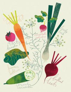 Illustration Elin Svensson - for the kitchen Graphisches Design, Food Design, Graphic Design Illustration, Illustration Art, Business Illustration, Vegetable Illustration, Poster Art, Food Drawing, Arte Floral