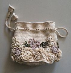Bolso pequeño hecho a mano encaje irlandés. por VintagegoodsUSSR