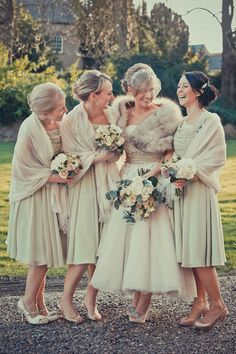 Ellingham Hall Justin Alexander wedding dress vintage wedding- the slinky monsoon dresses will go with a tealength- think this is proof lol Wedding Fur, Wedding Bells, Wedding Gowns, Dream Wedding, Tipi Wedding, Wedding Shawl, Spring Wedding, Perfect Wedding, Bridesmaids And Groomsmen