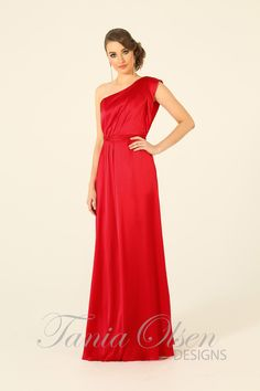 Elegant silk one shoulder red evening dress by Tania Olsen features draped detailing perfect as a bridesmaids dress or evening gown.