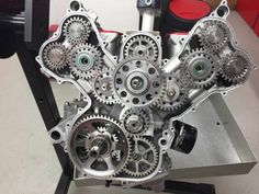 """engineeringporn: """"Gorgeous direct-drive timing on the Ducati Desmosedici. """""""