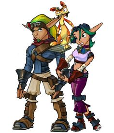 I just has a scary thought, what would have happened is jak was the one who fell in the dark Eco and Dax was the warrior? Like, jak is all serous and keeps yelling at Dax to charge in from on top his shoulder xD I really want to see that. fanart anyone? Jak And Daxter Games, Jak And Daxter 2, Jak & Daxter, Character Design References, Character Art, Retro Videos, Video Game Characters, Anime Characters, Illustrations
