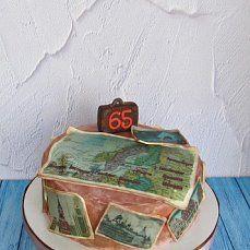 торт пьяный чернослив, покрыт кремом, печать на сахарной бумаге