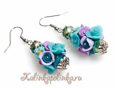 polymerclayfimo: Урок- бусины-букеты из роз, маков и других цветочков.  pictorial is good to figure out how to make the earrings