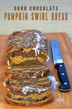 Dark Chocolate Pumpkin Swirl Bread. Make this for upcoming friends and family events or give as a gift!