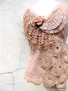 Rose Smoke Lace Top in Pale Pink and Ecru With Vintage Crochet and Embroidery… Vintage Crochet, Vintage Lace, Crochet Lace, Vintage Soul, Vintage Bohemian, Paisley, Altered Couture, Linens And Lace, Lace Tops