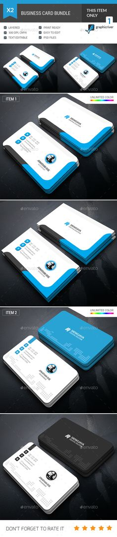 Business Card Bundle — Photoshop PSD #modern #pack • Available here → https://graphicriver.net/item/business-card-bundle/16928405?ref=pxcr