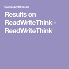 Results on ReadWriteThink - ReadWriteThink Reading Genres, Writing Genres, Reading Fluency, Reading Resources, Kids Writing, Writing Practice, Learning Objectives, Interactive Learning, Student Learning