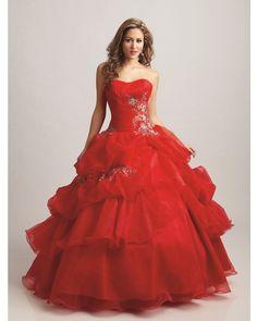 BallGown Strapless Organza Floor-length Red Quinceanera Dress at sweetquinceaneradress.com