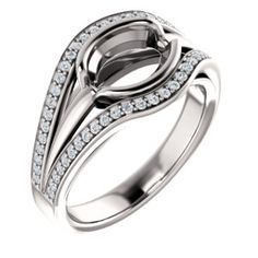 14kt White  8x6mm Oval Ring Mounting