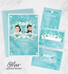 Boho watercolor wedding invitation set with custom couple portrait See more here: https://www.etsy.com/listing/267085888/boho-wedding-invite-set-watercolor?ref=shop_home_feat_3