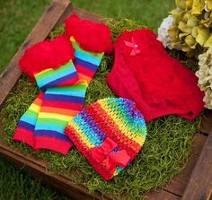 rainbow baby bloomers, hat and leg warmers, rainbow, baby, baby photo props, baby clothes, baby style