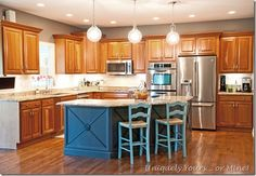 First stage of DIY kitchen remodel Antique Kitchen Island, Painted Kitchen Island, Kitchen Island Furniture, Green Kitchen Island, Farmhouse Kitchen Island, Kitchen Paint, Kitchen Redo, New Kitchen, Kitchen Cabinets
