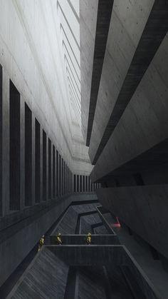 Futuristic Architecture Discover The facility Tarmo Juhola ArtStation - The facility Tarmo Juhola Cyberpunk City, Arte Cyberpunk, Futuristic City, Futuristic Architecture, Architecture Design, Monumental Architecture, Architecture Wallpaper, Minimalist Architecture, Chinese Architecture