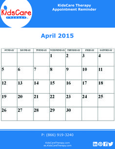 Use this April 2015 calendar to plan out your Speech, Physical, or Occupational therapy for the month!