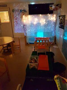 Det snöar inne på Safiren, Projektorn är kopplad till datorn, snow falling  background från Youtube