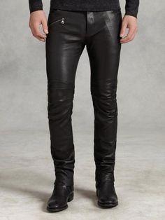 Motor Cross Skinny Fit Leather Jean