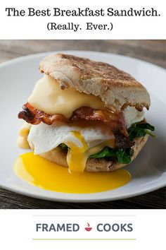 Dec 2019 - Here's the recipe for the best breakfast sandwich EVER. Crispy bacon, melty cheese, creamy egg all on a buttered English muffin. Best Breakfast Sandwich, Healthy Egg Breakfast, Breakfast Desayunos, Mexican Breakfast Recipes, Beer Recipes, Brunch Recipes, Recipies, Bacon Egg And Cheese, Bacon Sandwich