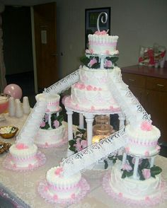 Pink and beautiful cake with waterfall.   Roses were individually made from modeling chocolate