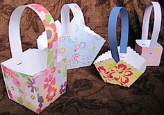 Easy Paper Easter Baskets!  Cute as favors or small gifts!