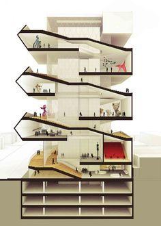 APRESENTAÇÃO E GRAFICAÇÃO - CORTE RENDERIZADO  Cultural Center in Guadalajara Competition Entry / PM²G Architects