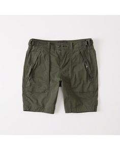 A&F Men's Paratroop Shorts in Olive Green - Size 34