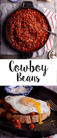 Sweet and smoky Cowboy Beans with bacon makes the perfect lazy breakfast when served on toast with a soft fried egg. Sweet and smoky Cowboy Beans with bacon makes the perfect lazy breakfast when served on toast with a soft fried egg. Iron Skillet Recipes, Cast Iron Recipes, Skillet Meals, Skillet Cooking, Cowboy Beans, Legumes Recipe, Good Food, Yummy Food, Western Food