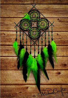 green black dream catcher Medium dreamcatcher wood by WickerCrafts