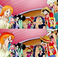 Straw Hat Crew, Mugiwara, Luffy, Sanji, Zoro, Chopper, Usopp, Brook, Franky, Nami, Robin, surprised, funny; One Piece