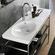Plan de toilette asymétrique (cuve à droite ou à gauche) Gauche, Sink, Design, Home Decor, Toilets, Bath, Sink Tops, Vessel Sink, Decoration Home