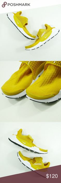 Nike Sock Dart Yellow Shoes 848475 men/women Rare Women's 11 Mens 9.5 Nike Sock Dart Yellow Shoes 848475 700   Color: Yellow  Slip on with fastening  Sizes: 11 Women/ 10.5 men *PLEASE NOTE THE SIZE DIFFERENCE BETWEEN MEN AND WOMEN*  A great comfortable sneaker very stylish and unique. Comfort is what this show is known for. Laceless slip on ready to be worn :)  Shoes can be unisex  *Shoes are new, never been used* Nike Shoes Sneakers