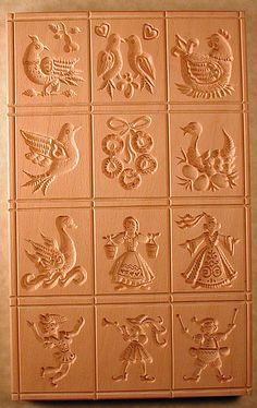 Carving 12 Days of Christmas Wooden cookie mold