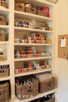 The Butler's Pantry, Laundry Room, Wrapping room, Craft room! What was once a tiny laundry closet, with the only do. Pantry Laundry Room, Laundry Room Storage, Pantry Storage, Kitchen Organization, Organization Hacks, Kitchen Storage, Pantry Baskets, Food Storage, Laundry Drying