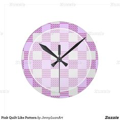 Pink Quilt Like Pattern Round Wall Clocks