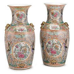 Chinese export porcelain rose medallion vases