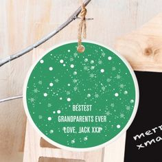 Personalised Ceramic Christmas Green Bauble Decoration